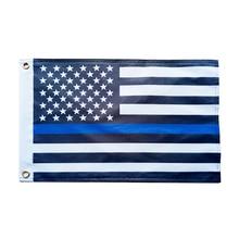 цена на Blue Line usa Police Flags, 53X23cm Thin Blue Line USA Flag Black White And Blue line Flag With Grommets Epacket