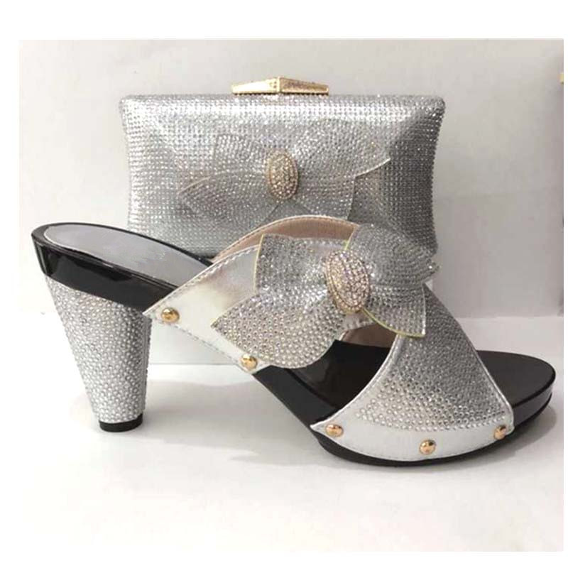 228-2 silver Fashion Italian Shoes With Matching Bags African High Heel Women Shoes And Bags Set For Prom Party doershownew fashion italian shoes with matching bags for party high quality shoes and bags set for wedding szie 38 or 42 wow25 page 2