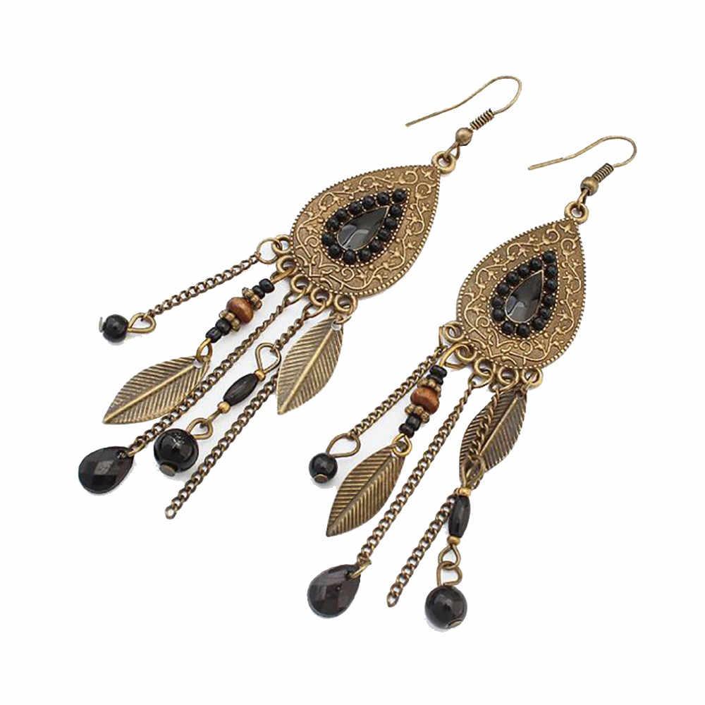Le donne Del Metallo Dell'annata Orecchini Foglia Ovale Orecchini Indiani di Stile Della Nappa Orecchini Per Le Donne Dropshipping