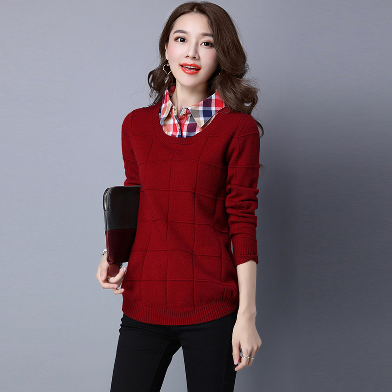 2017 New Women Cashmere Long Pullover Sweaters Fashion Solid Fake Two Piece Turn-down Co ...