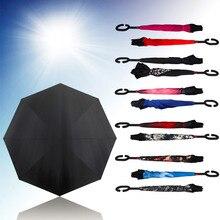 2017 Caliente Creativa A Prueba de Viento Plegable Inverso Protección Invertida de Doble Capa Paraguas de Auto Soporte de Adentro Hacia Afuera Lluvia C Forma Manos
