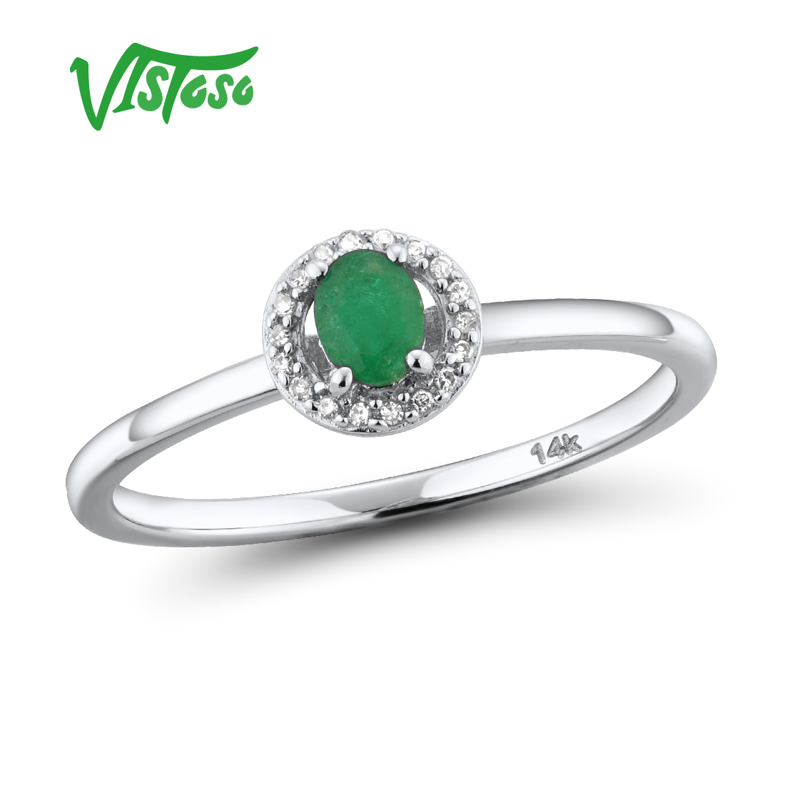 VISTOSO 14K White Gold Rings For Lady Genuine Shiny Diamond Fancy Sapphire Ruby Emerald Engagement Anniversary Chic Fine Jewelry
