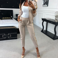 MVGIRLRU Outfit Women Casual Tracksuit Women 2 Piece Set Zipper Jacket and Pants Sequined Patchwork Outwear Sweat Suit