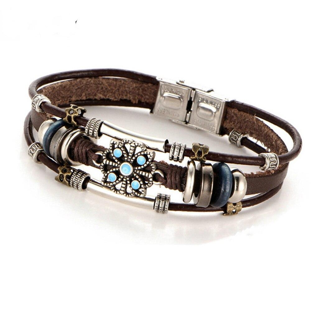 moins cher double coupon jolie et colorée US $1.35 25% OFF|2 Style Vintage Flower Bracelets & Bangle Boho Multiple  Layers Leather Bracelet Handmade Female Punk Jewelry for Women Man-in Charm  ...