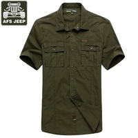 AFS JEEP Shirt Men Denim Shirt Camisa Masculina Plus Size 5XL Men Shirt Brand clothing Solid 100% Cotton Camisas Hombre Vestir