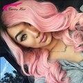 Grado superior de Dos tonos 1b/Rosa Peruana Llena del cordón peluca de cabello humano con el Pelo Del Bebé sin cola pelucas delanteras del cordón ombre color de cabello humano peluca