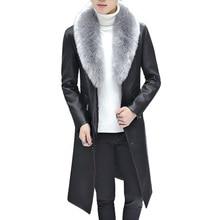 2019 New Winter Blazer Fur Collar Long Section Men fur Coat Mens Business Casual Leather Jacket Fleece Warm Thick Overcoat XXXL