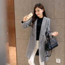 Pop Brand Design Nice Winter Coat Women Woolen Coat Long Women's Coat European Fashion Grey Jacket Outwear Plus Size WD1151