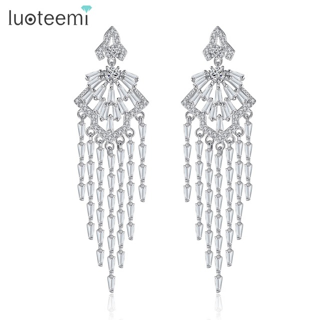 Luoteemi luxury bridal geometric cubic zirconia tassel wedding luoteemi luxury bridal geometric cubic zirconia tassel wedding chandelier dangle earrings for women boucle d aloadofball Image collections