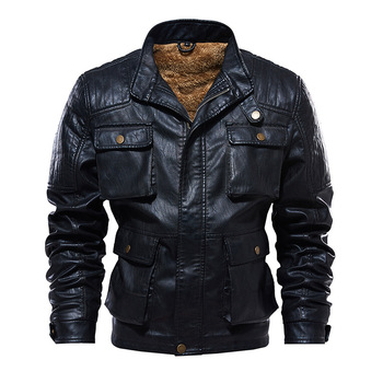 Fashion Vintage Plus Size Leather Winter Jacket Men