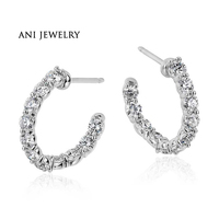 ANI 18k White Gold Women Circle Earrings 1 98 Ct Certified I S1 Natural Diamond Stud