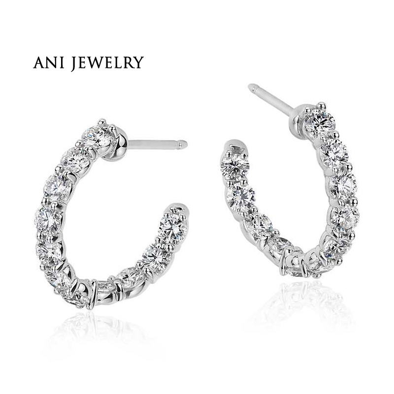 ANI 18k White Gold Women Circle Earrings 1.98 ct Certified I/S1 Natural Diamond Bridal Earrings Fashion Circle Bijoux for Female цена 2017