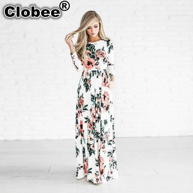 Ethnic 2018 Women Spring Boho Clothing Girls White Black Print Long Sleeve  Maxi Long Party Dress Plus Size vestidos de festa 0a2ece8b6b22