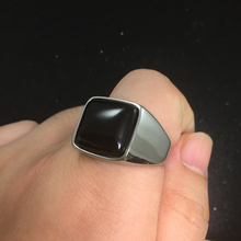 Square Black Stone Men Signet Ring Seal Silver Gold Color Titanium Stainless Steel Male Rings Jewelry Band Punk Hip Hip DCR100 jiayiqi punk titanium steel ring big black stone square ring men silver color for male jewelry vintage wedding party gift