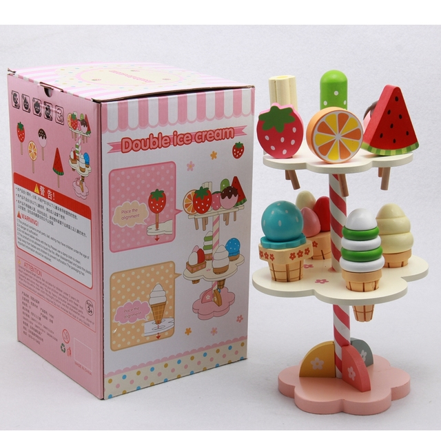 Baby Toys Simulation Magnetic Ice Cream Wooden Set Pretend Play Kitchen Food Infant