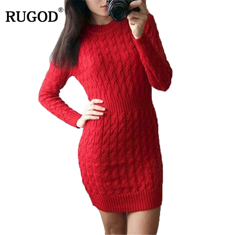 RUGOD New Year Red Twisted Knitted Sweater Dress Women O Neck Long Sleeve Bodycon Dress Female Winter Warm Knitwear Vestidos