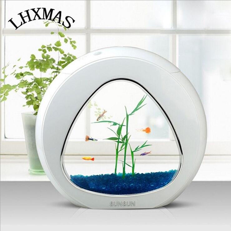2016 Popular USB Mini Fish Tank Desktop Electronic Aquarium Fish Tank with LED Pump Light With Accessories 3 Colors AT005