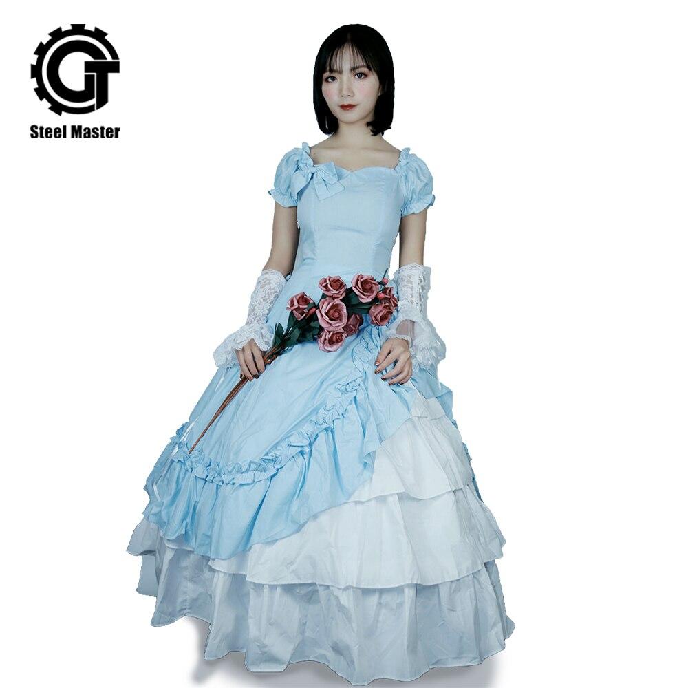 2019 nouveau bleu ciel classique Lolita robe à manches courtes longue robe Court vent envoyer en acier anneau robe arc longue robe
