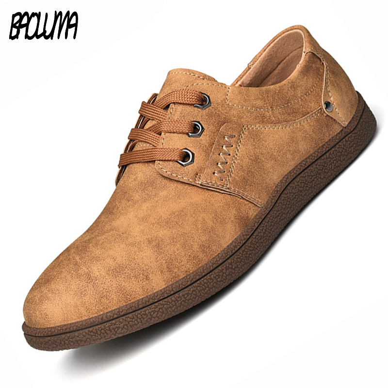 Mens Designer Casual Shoes Big Size 46 Leather Shoes Simple & Stylish Sneakers Brands Male Retro Lac
