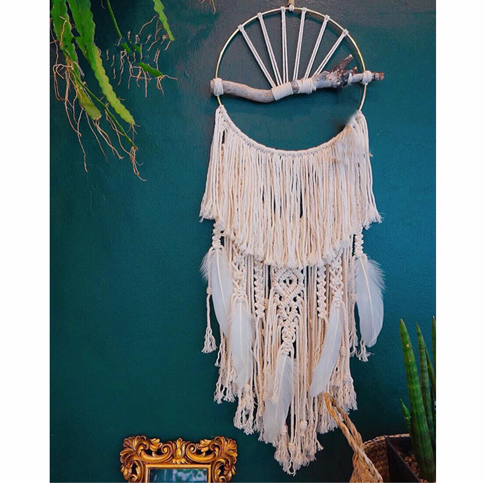 Creative handmade macrame catch dream feather tapestry wall decoration wall hanging for home decor ornament or