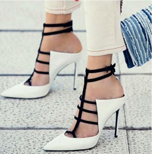 Women Black White High Heel Pumps Pointed Toe T-bar High Heel Pumps Cross Strap Patent Leather Strappy Sanadals Big Size 10 цена