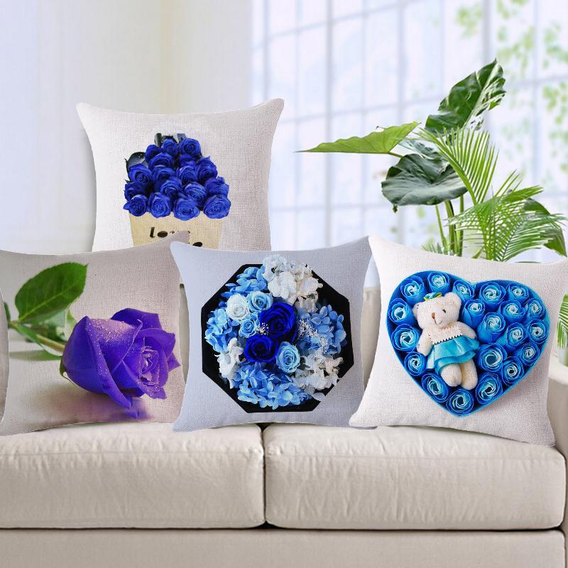 Small Pillows For Sofa Part - 35: New Rose Flower Small Fresh Cotton Linen Cushion Home Sofa Car Decorative  Pillow BLUELOVER Decor Pillow