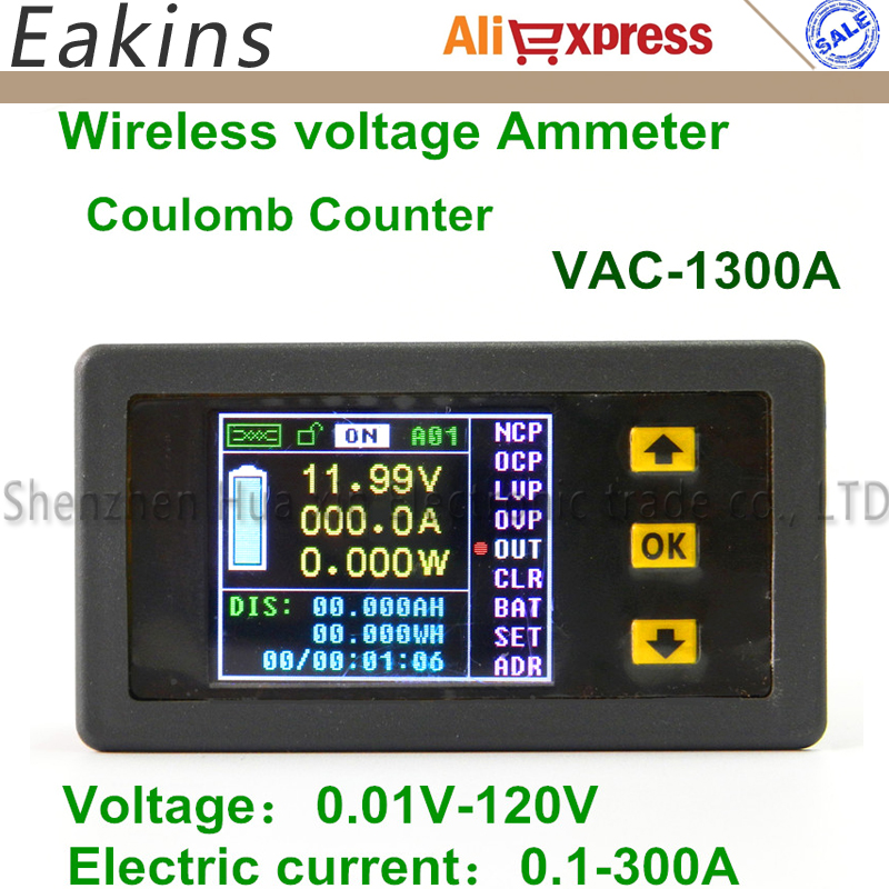 VAC1300A Color Multifunction Digital LED power meter Monitor Coulomb Counter For voltage current power capacity watts 120V/300A