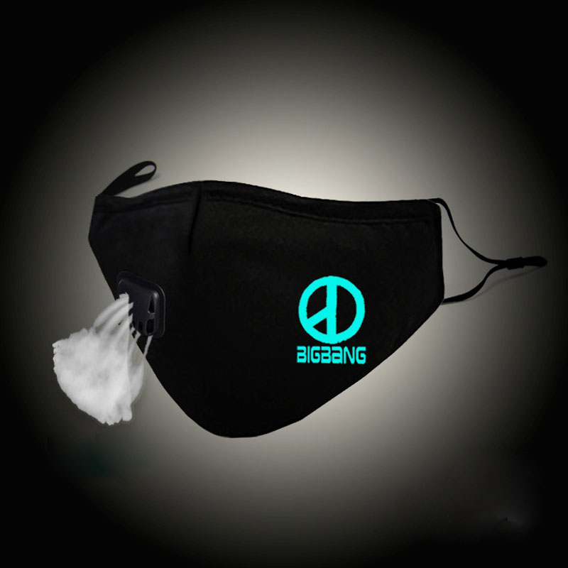 Luminous Fashion Kpop Mouth Mask BIGBANG G-Dragon Cotton Gauze Face Mask Anti PM2.5 Dust Filter Warm Muffle Valved Respirator