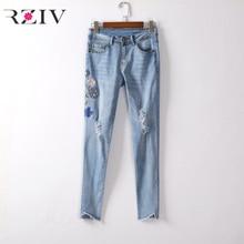 RZIV 2017 женские джинсы случайные чистый цвет цветы вышивка блестками отверстие джинсы