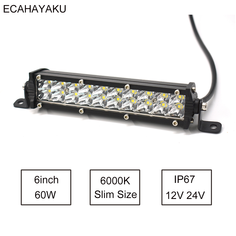 1Pcs ECAHAYAKU Car Light 7inch Slim Size Dual Row Led Light Bar 60W 6000K 12V For Jeep Hummer SUV UTE Pick-up Trucks 4x4 Offroad