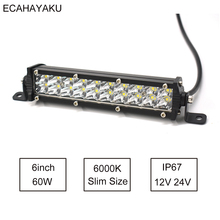 1Pcs ECAHAYAKU 7 inch Ultra Slim Dual rows Led Light Bar 60W 6000K 12V for Jeep/Hummer Cars  SUV UTE Pick up Trucks 4x4 Offroad