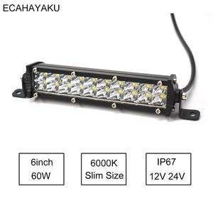 1Pcs ECAHAYAKU 7 inch Ultra Slim Dual rows Led Light Bar 60W 6000K 12V for Jeep/Hummer Cars SUV UTE Pick-up Trucks 4x4 Offroad