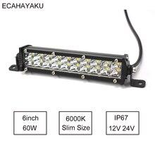 Ультратонкая двухрядная светодиодсветильник световая панель ECAHAYAKU 7 дюймов, 1 шт., 60 Вт, 6000K, 12 В для джипа/внедорожника, внедорожника 4x4