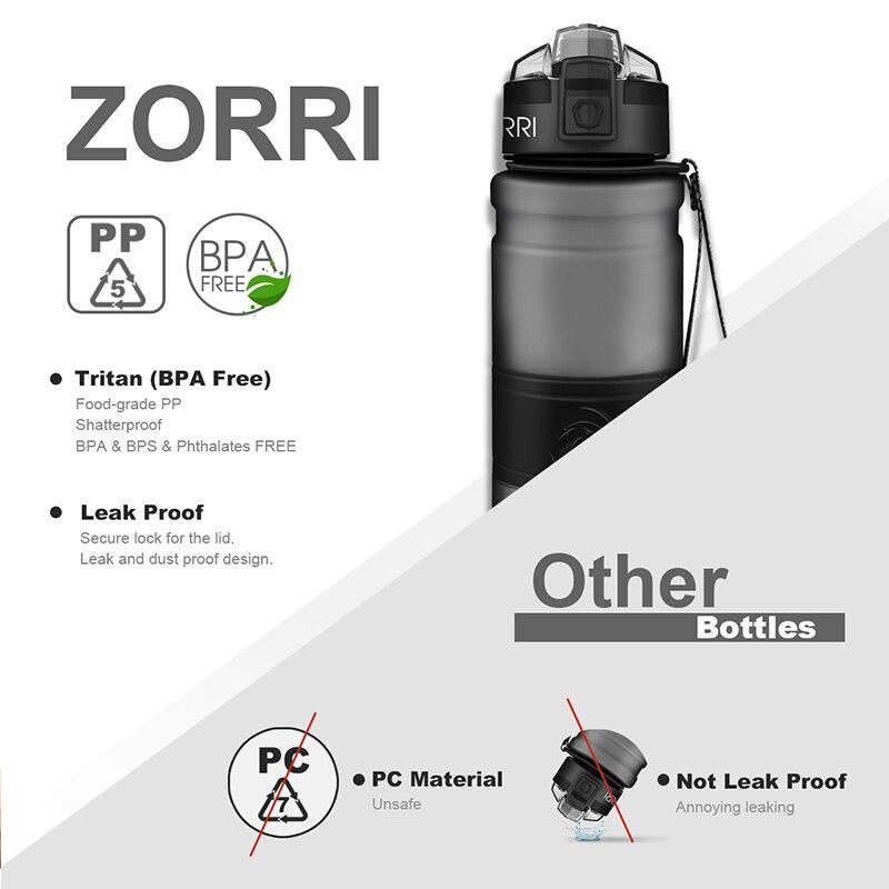 ZORRI Sport Water Bottles BPA free Tritan Flask Gym anti fall Leak proof 500ml 1000ml CE