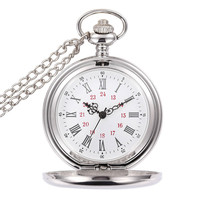 2017 New Silver Bronze Polishing Pocket Watch Quartz Movement Clock Necklace Pocket Fob Watches Pendant Sweater