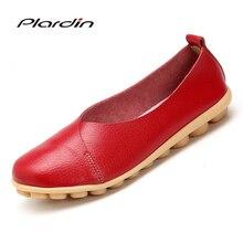 Plardin 2019 Handmade Leather Women Plus Size Sewing Flats M