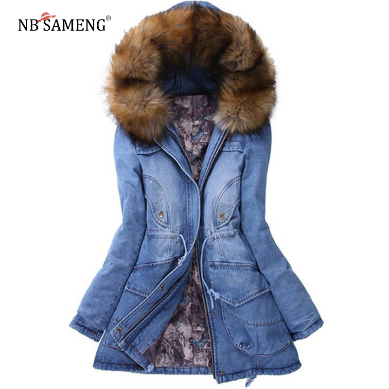 Winter Women Jacket 2017 Big Yards Long Thick Denim Cotton-padded Parka Casual Winter Coat Women Hooded Fur Collar Coat ZL043 mcckle women winter coat thick warm parka with big fur collar plus size fashion hooded cotton padded long puffer coat outerwear