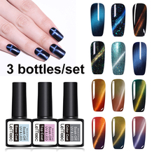 Lemooc 3pcs/set Chameleon Magnet Gel Polish 3D Cat Eyes Set UV Nail Soak Off Long Lasting Led Varnish