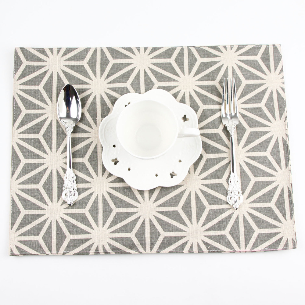 Fashion Geometry Print Fabric Napkins heat insulation mat dining table mat children table Placemat Cotton Linen placemats