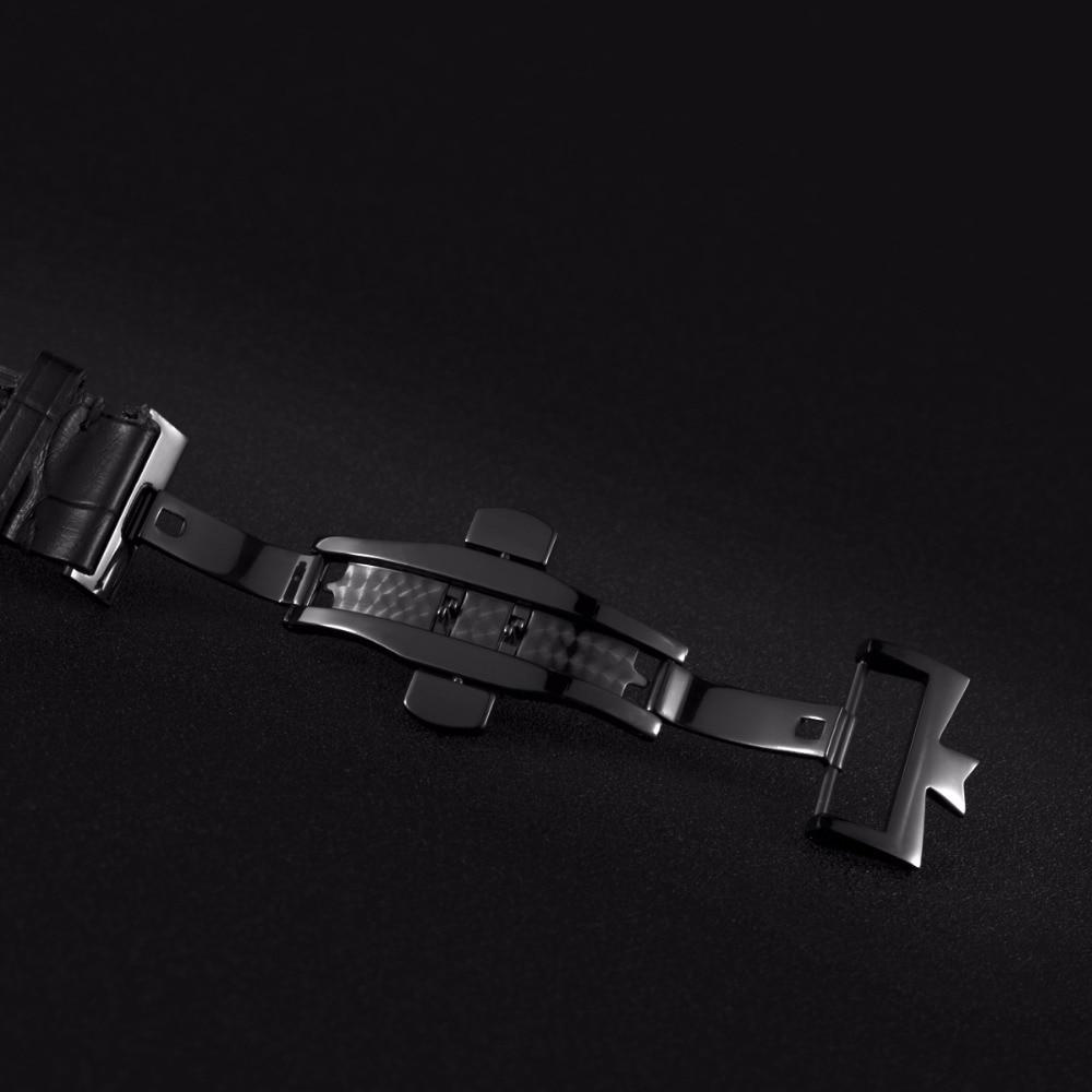 OBLVLO Designer squelette montres pour hommes mode noir acier automatique montres en cuir véritable bande montres analogiques VM 1 - 6