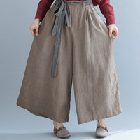 F&je Plus Size Women Wide Leg Pants Cotton Linen Vintage Long Pants Oversized Elastic Waist Large Pantalones Free Belt A9262