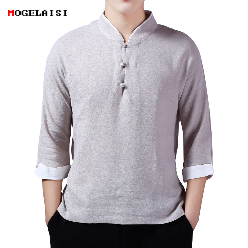 New summer Pankou men shirt solid three quarter sleeve tops Chinese style Ethnic Linen cotton Standing collar shirt men clothing