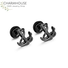 316L Stainless Steel Stud Earrings for Men Viking Anchor Man Earring Fashion Male Jewelry Birthday Gifts for Boyfriend Bricons(China)
