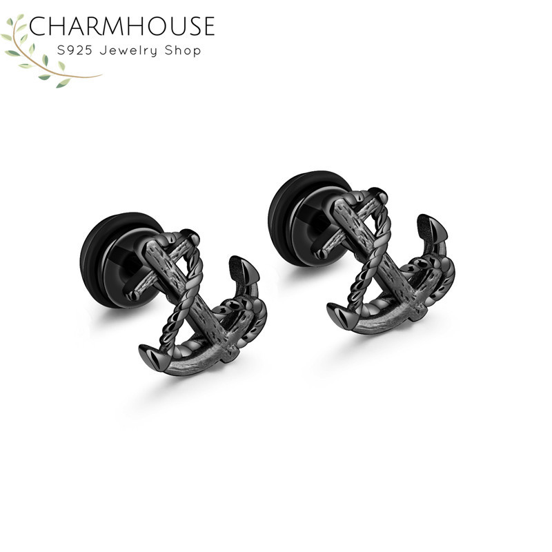 316L Stainless Steel Stud Earrings for Men Viking Anchor Man Earring Fashion Male Jewelry Birthday Gifts for Boyfriend Bricons