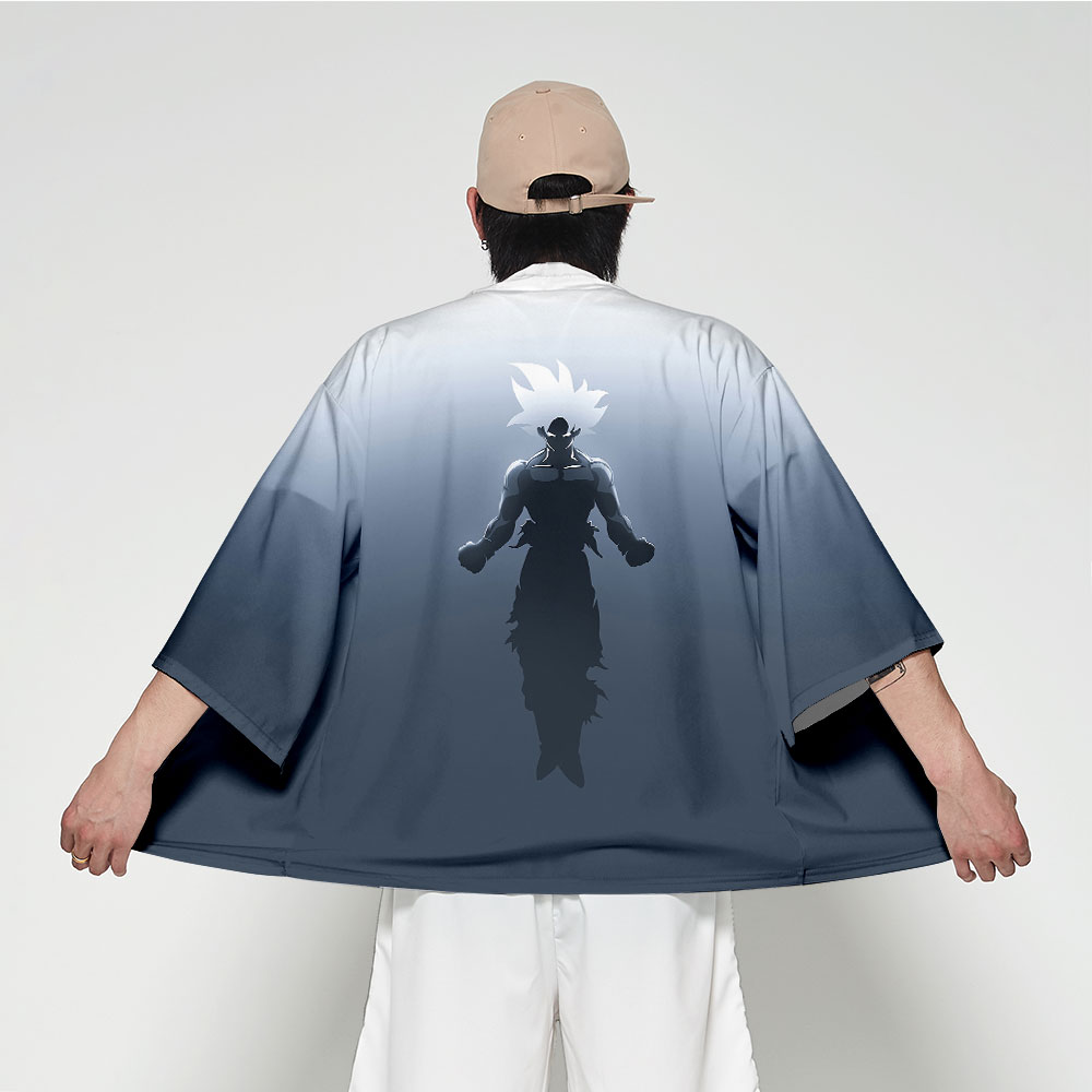 Anime Print Bathrobe Japanese Kimono Men's Traditional Clothing Fashion Casual Wear