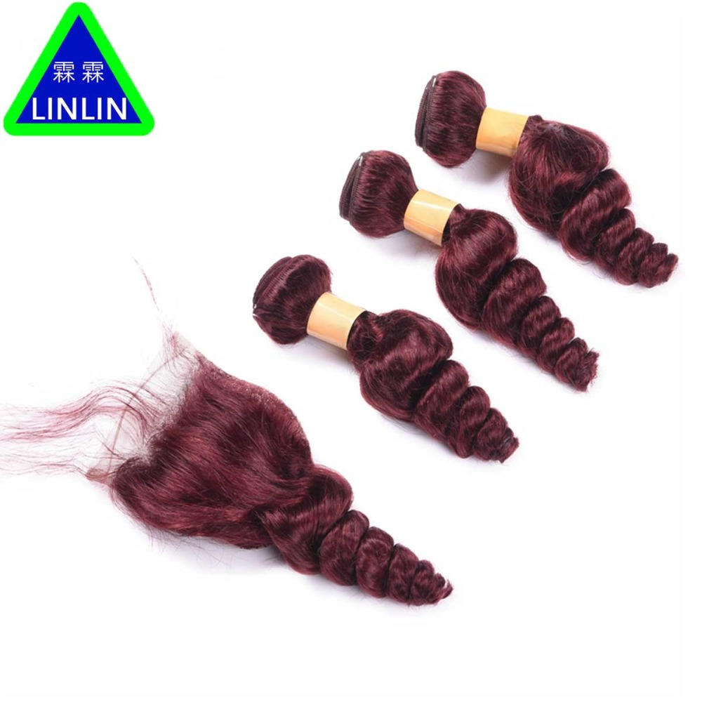 LINLIN Malaysian Hair Weave Bundles With Closure 3 Bundles 99J Red Wine Color Human Hair Loose Wave Lace Closure Hair Rollers 30cm cute korea pororo little penguin plush toys doll pororo with glasses plush soft stuffed animals toys for children kids gift