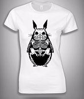 해골 토토로 재미 애니메이션 T 셔츠 화이트 여자 스타일 크기 S, M, L, XL 인쇄 2017 여름 재미 티셔츠 2017 여성 패션
