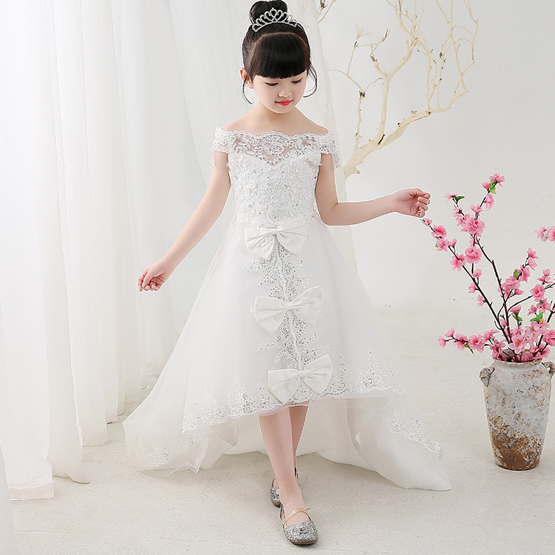 Glitz Shoulderless Chapel Train Appliques Sequins Flower Girl Dresses White Princess Dress Birthday Party Wedding Ball Gowns