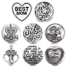 Newest High Quality 18mm Metal Snap Button Charm MOM Styles Button Snap Button Jewelry TZ0002(China)