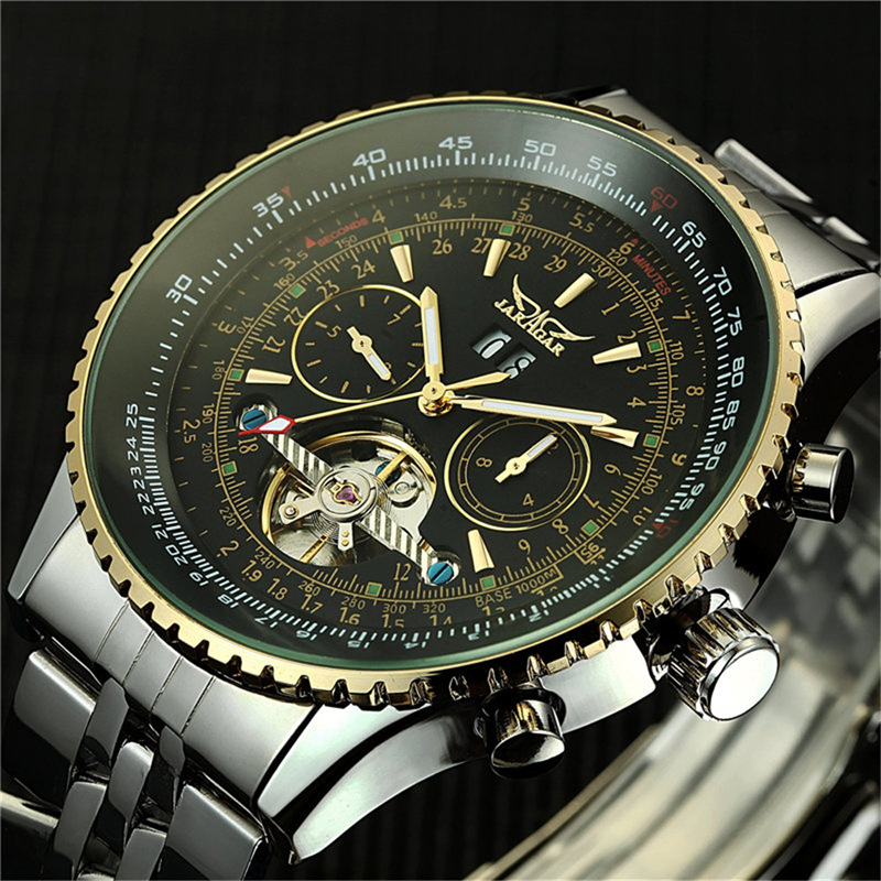 Men's Luxury Watch Day/Month Tourbillon Mechanical Watches Automatic Self wind s Masculino Watch Stell Wristwatch|day day|day watch|jaragar automatic mechanical - title=